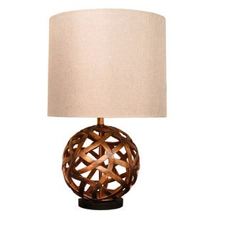 Bombay Outlet Copper Round Lattice Table Lamp