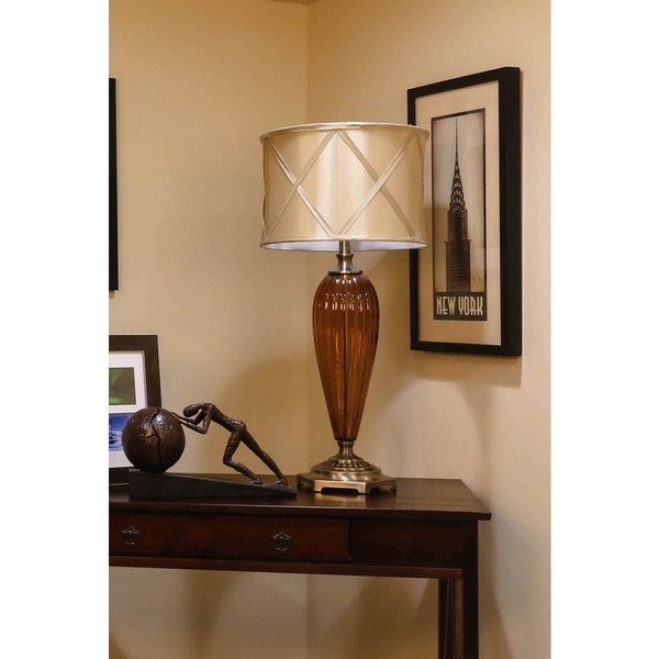 Bombay Outlet Amber Fluted Glass Buffet Lamp