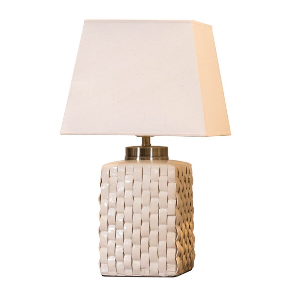 Bombay Outlet Cream Porcelain Woven Table Lamp