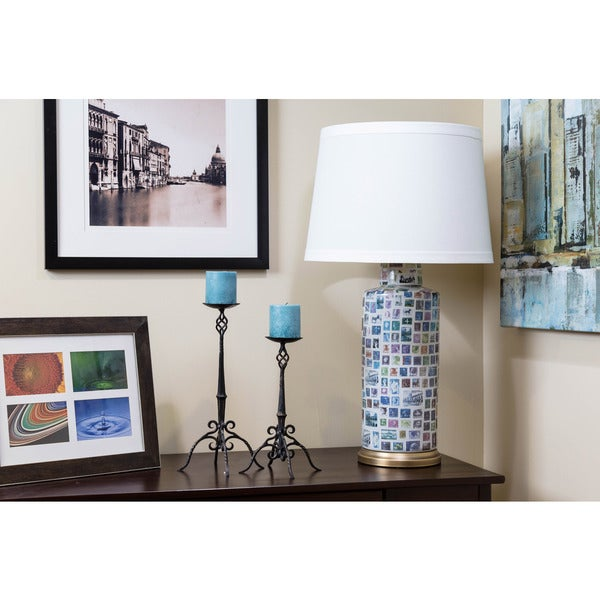 Bombay Outlet Nostalgic Stamps Cylindrical Table Lamp