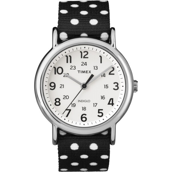 Timex Women's TW2P866009J Weekender Reversible Black Polka Dot Nylon Slip-Thru Strap Watch