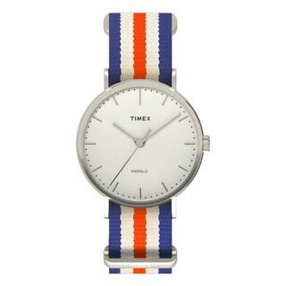 Timex Unisex TW2P911009J Weekender Fairfield Orange/Blue/White Nylon Slip-Thru Strap Watch