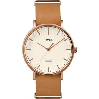 Timex Unisex TW2P912009J Weekender Fairfield Brown Leather Slip-Thru Strap Watch