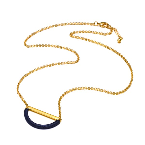 Alberto Moore Goldplated Reflecting Pond Thread Half Moon Necklace
