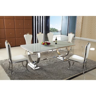 Teana 7 PC Dining Set - White Faux Leather Polyurethane