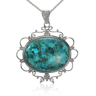 Sterling Silver 40x30mm Oval Turquoise Enhancer