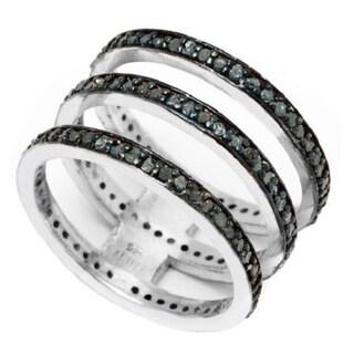 Pori Sterling Silver 1 1/4ct TDW Genuine Blue Diamond Triple Round Crown Ring