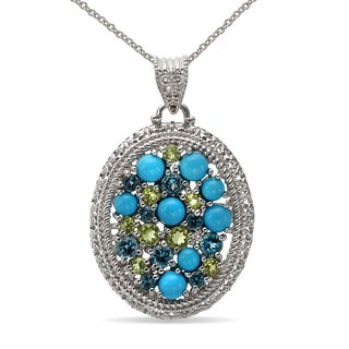 Sterling Silver Multi-gemstone and Sleeping Beauty Turquoise Pendant