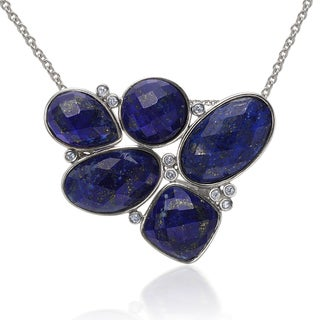 Sterling Silver Multi-shape Lapis and White Topaz Pendant