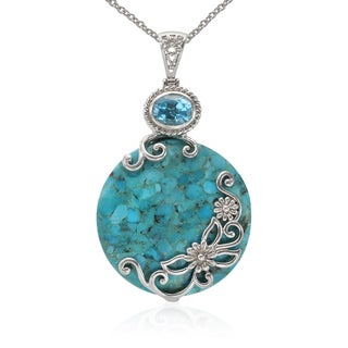 Sterling Silver Turquoise and Swiss Blue Circle Pendant