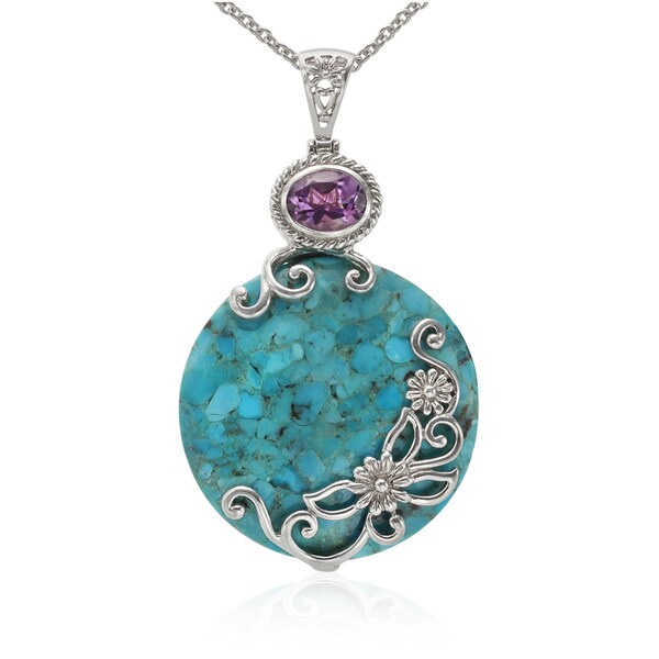 Sterling Silver 40mm Turquoise and Amethyst Circle Pendant