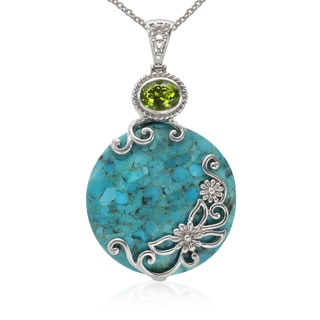 Sterling Silver Turquoise and Peridot Circle Pendant