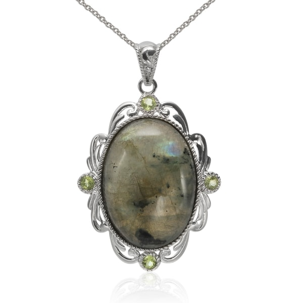Sterling Silver Oval Labradorite and Peridot Pendant