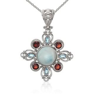 Sterling Silver Larimar, Blue Topaz and Garnet Pendant