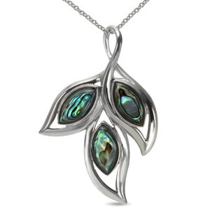 Sterling Silver Abalone Leaf Pendant