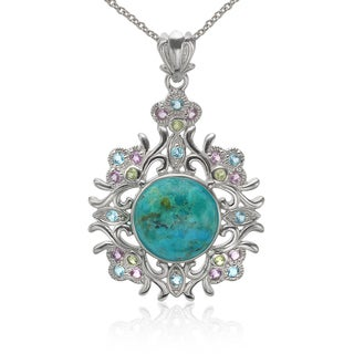 Sterling Silver Kingman Turquoise and Multi-gemstone Pendant