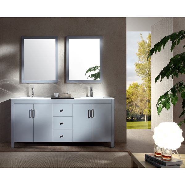 "Hanson 72"" Double Sink Vanity Set in Grey"