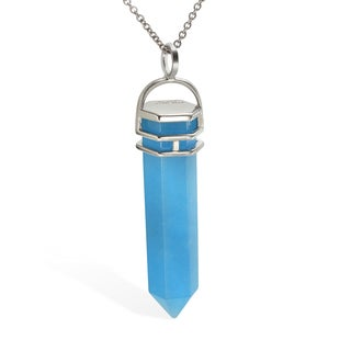 Sterling Silver Blue Agate Crystal Pendant