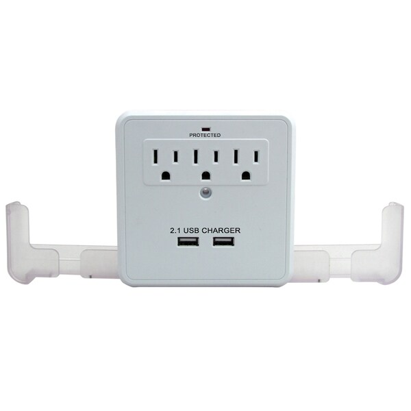 2.1A USB/ Outlet Surge Protector with Pull-out Smart Phone Cradles