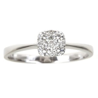 Anika and August 18k White Gold 2/5ct Round Diamond Engagement Ring (G-H, SI1-SI2)
