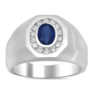 14k White Gold 2/5ct TDW Diamond and 1ct TGW Sapphire Ring (E-F, SI1-SI2)