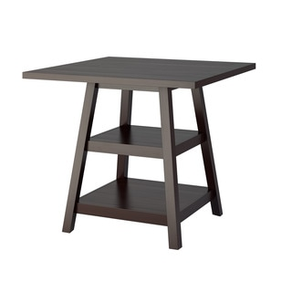 Bistro Counter Height Cappuccino Dining Table with Shelves