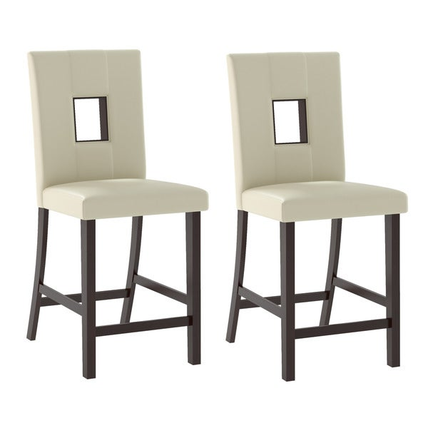 Bistro Dining Chairs in White Leatherette, Set of 2