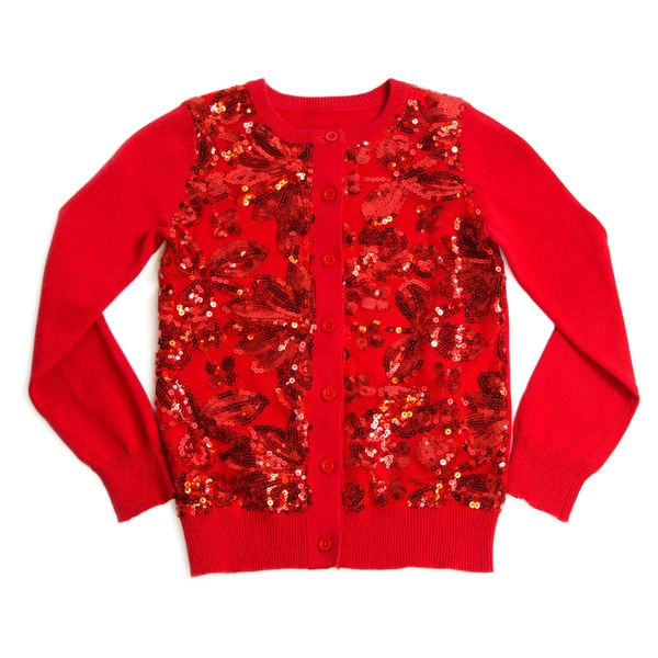 Girls' Sequin Long Sleeve Crewneck Cardigan