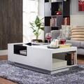 Furniture of America Kassalie Modern Two-tone White/Black Glass Top Coffee Table