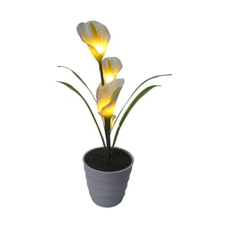 Creative Motion Home 17-inch 5-LED Warm White Lighted Yellow Callalily Flowers with Vase