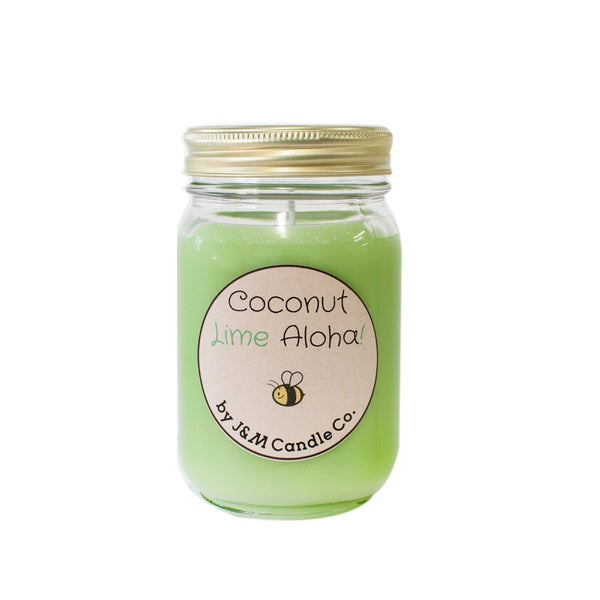 J&M Candle Company 100-percent Natural 16 oz 'Coconut Lime Aloha' Soy Candle