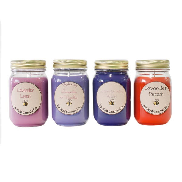 J&M Candle Company 100-percent Natural 16 oz 'For The Love Of Lavender' Soy Candle Collection