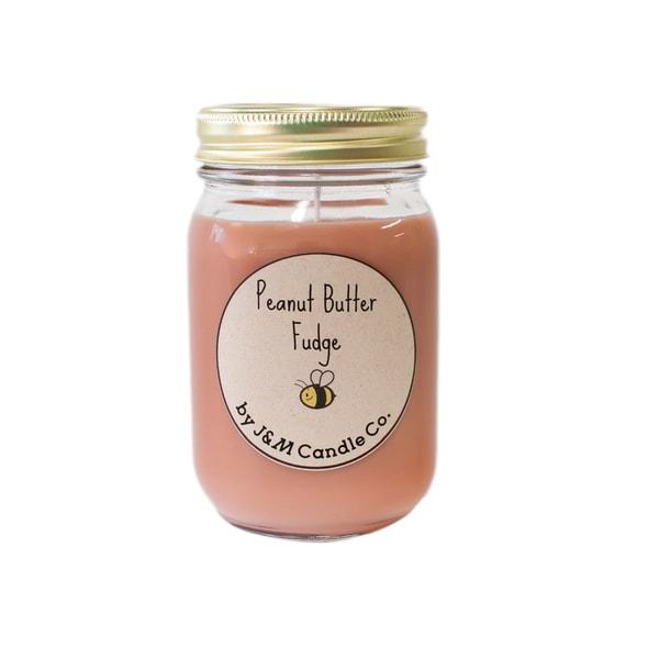 J&M Candle Company 100-percent Natural 16 oz 'Peanut Butter Fudge' Soy Candle