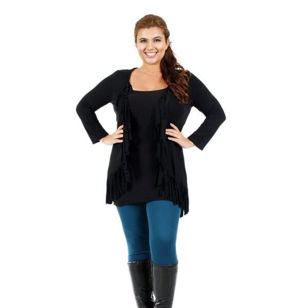 Firmiana Women's Plus Black Ruffle Open Cardigan