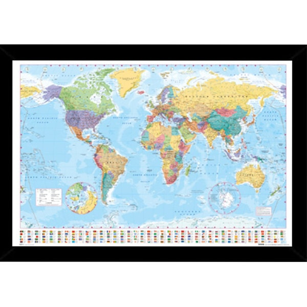 World Map Print (36 inches x 24 inches) with Contemporary Poster Frame