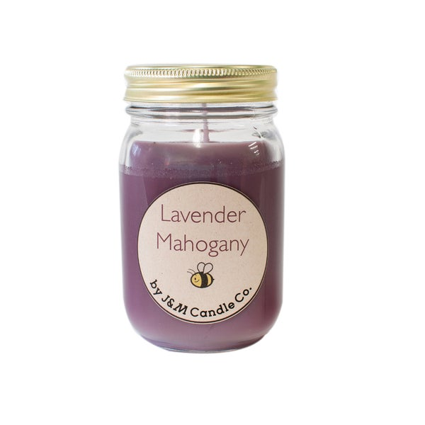 J&M Candle Company 100-percent Natural 16 oz 'Lavender Mahogany' Soy Candle
