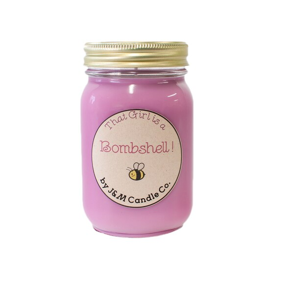 J&M Candle Company 100-percent Natural 16 oz 'That Girl'S A Bombshell' Soy Candle