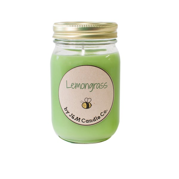 J&M Candle Company 100-percent Natural 16 oz 'Lemongrass' Soy Candle