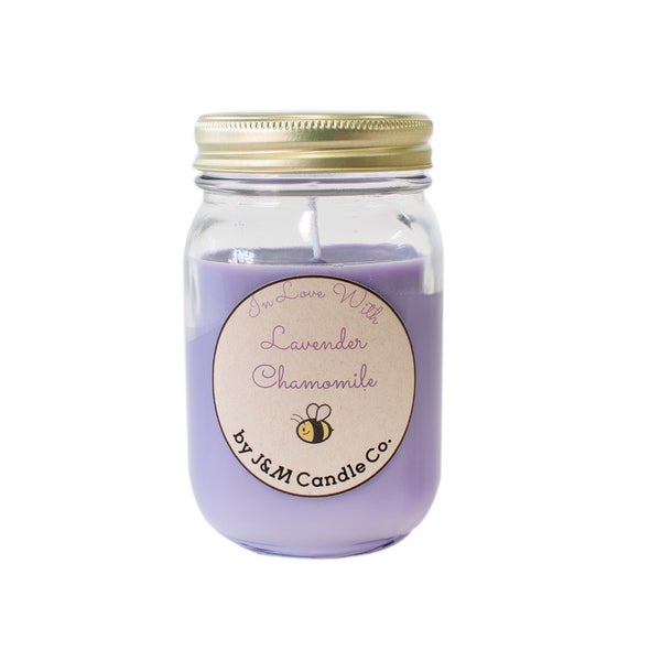 J&M Candle Company 100-percent Natural 16 oz 'In Love With Lavender Chamomile' Soy Candle