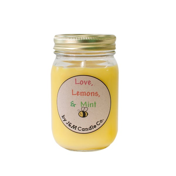 J&M Candle Company 100-percent Natural 16 oz 'Love, Lemons and Mint' Soy Candle