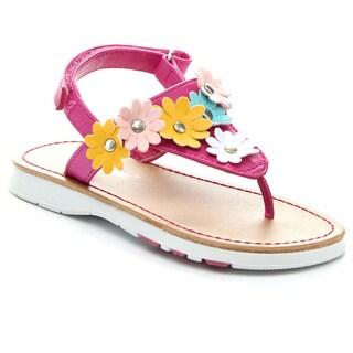 JELLY BEANS ROCAT Girl's Comfort Flower Embellishment Thong Flat Sandals