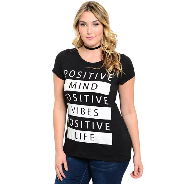 Shop the Trends Women's Plus Size Short Sleeve Graphic Print Knit Crew Neckline Top