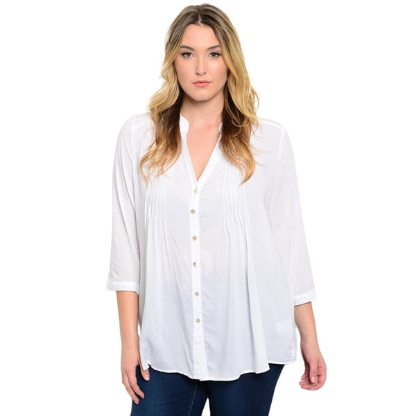 Shop the Trends Women's Plus Size 3/4 Sleeve Button Down Woven Top