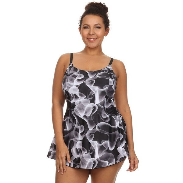 Dippin' Daisy's Women's Plus Size Black Abstract Print One Piece Swimdress
