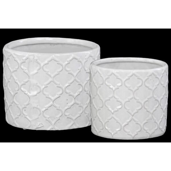 Ceramic Gloss White Finished Elliptical Flower Pot with Embossed Diagonal Design (Set of 2)