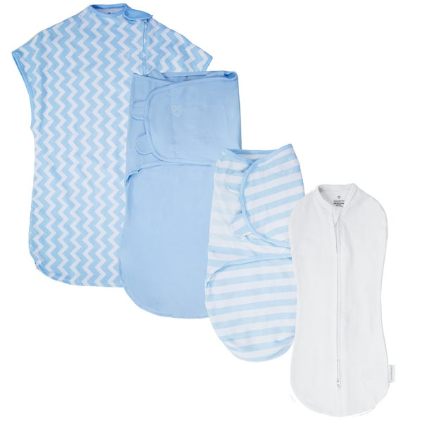 SwaddleMe White and Blue Chevron 1st Year Safe Sleep Blue Gift Set