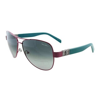 Nicole Miller Women's 'Stone' Pink and Green Metal Aviator Sunglasses