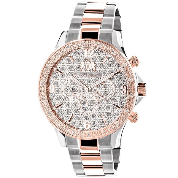 Luxurman Mens Two-Tone White Rose Goldplated Diamond Swiss Watch