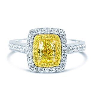 14k Two-tone Gold Certified Double Halo 1 1/3ct TDW Yellow Diamond Ring (G-H, SI1-SI2)