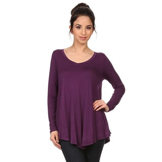Women's Solid V-Neck Long Sleeve Top